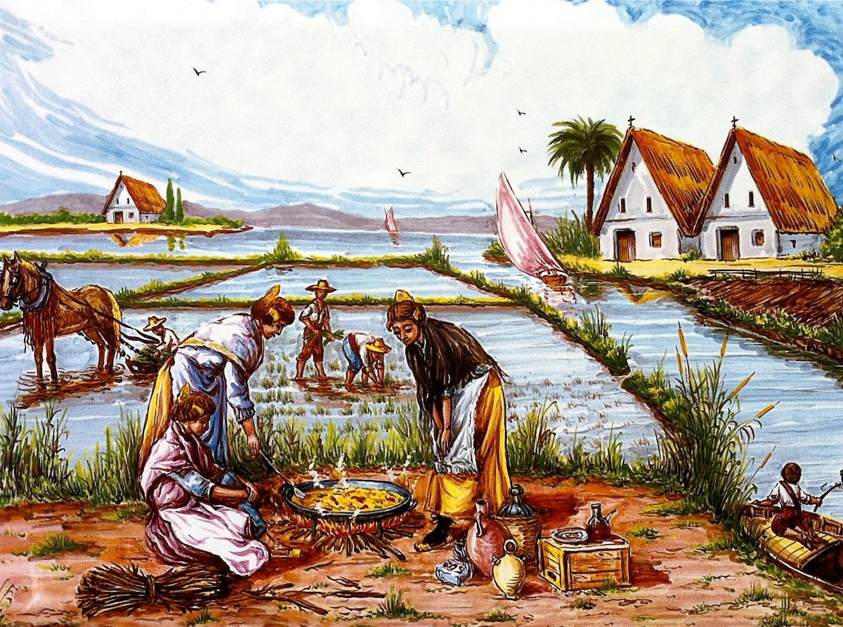 La bible de la paella - Paelleras qui cuisinent une Paella dans la Albufera deValencia